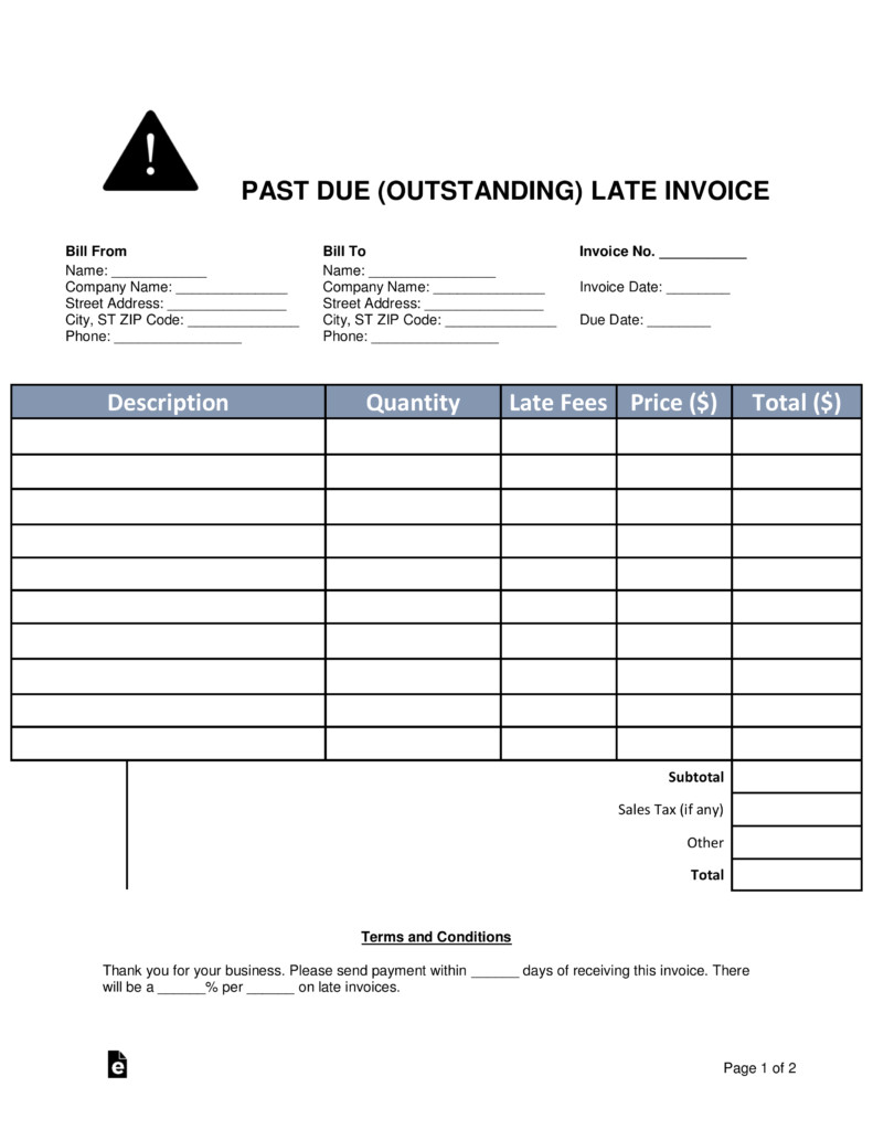 Past Due Invoice Template Free Past Due Outstanding Late Invoice Word