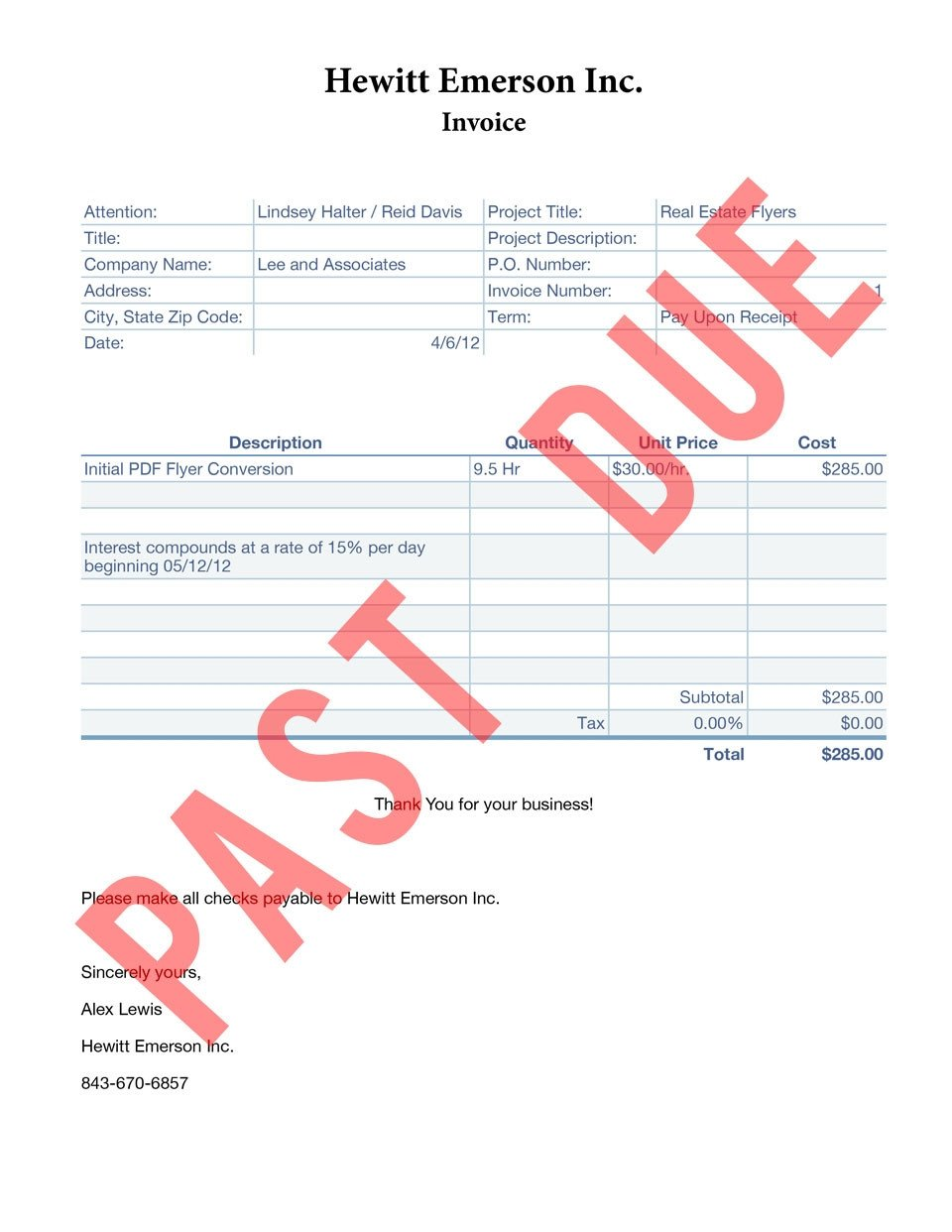Past Due Invoice Template Past Due Invoice