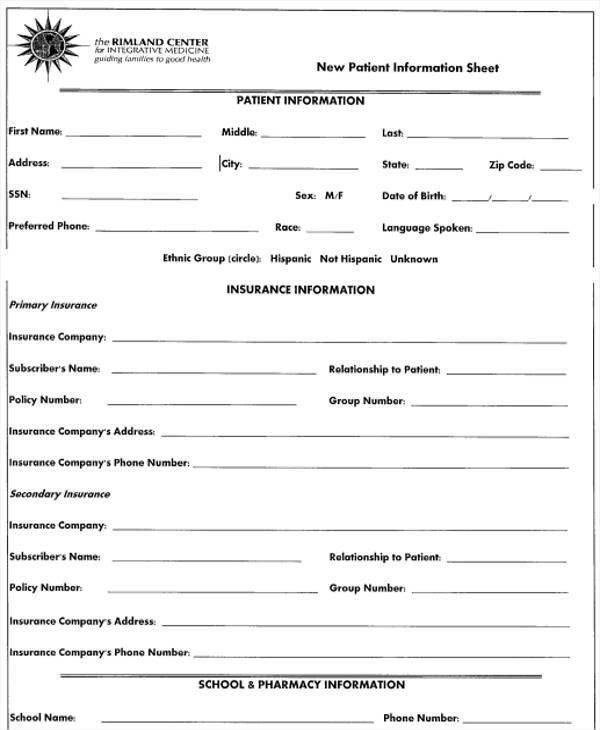 Patient Information form Template 27 Information Sheet Templates In Word