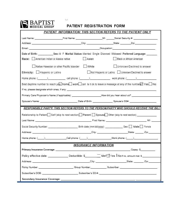 Patient Information form Template 44 New Patient Registration form Templates Printable