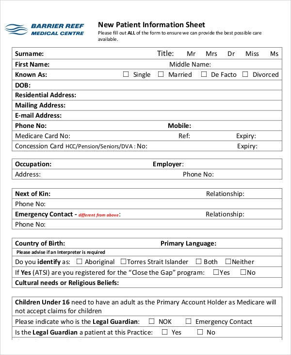 Patient Information form Template 49 Information Sheet Examples