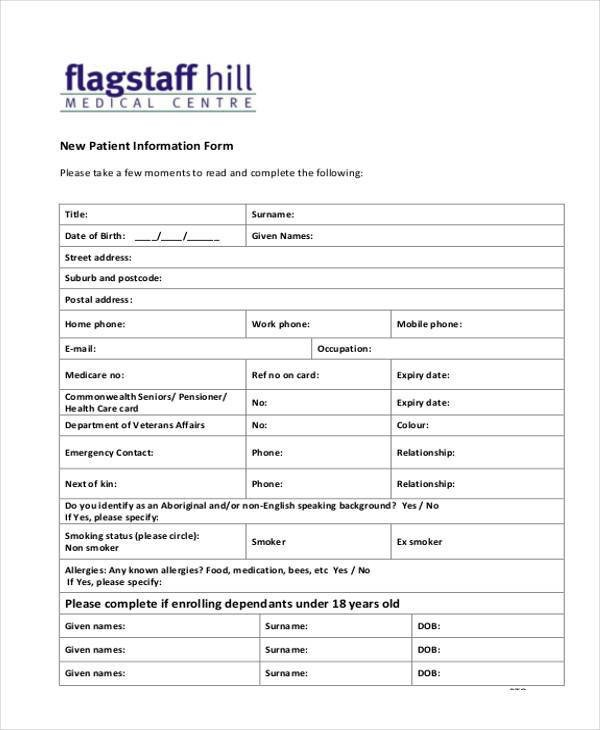 Patient Information form Template Sample Patient Information forms 10 Free Documents In
