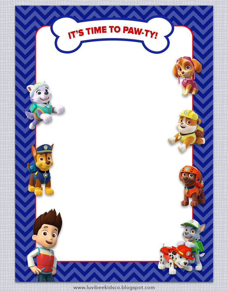 Paw Patrol Birthday Invitations Free Printables