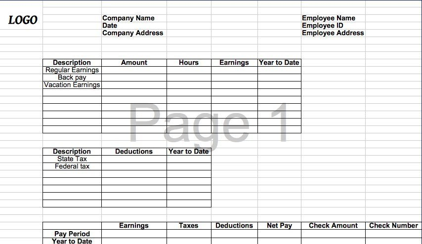 Pay Stub Template Excel 25 Great Pay Stub Paycheck Stub Templates