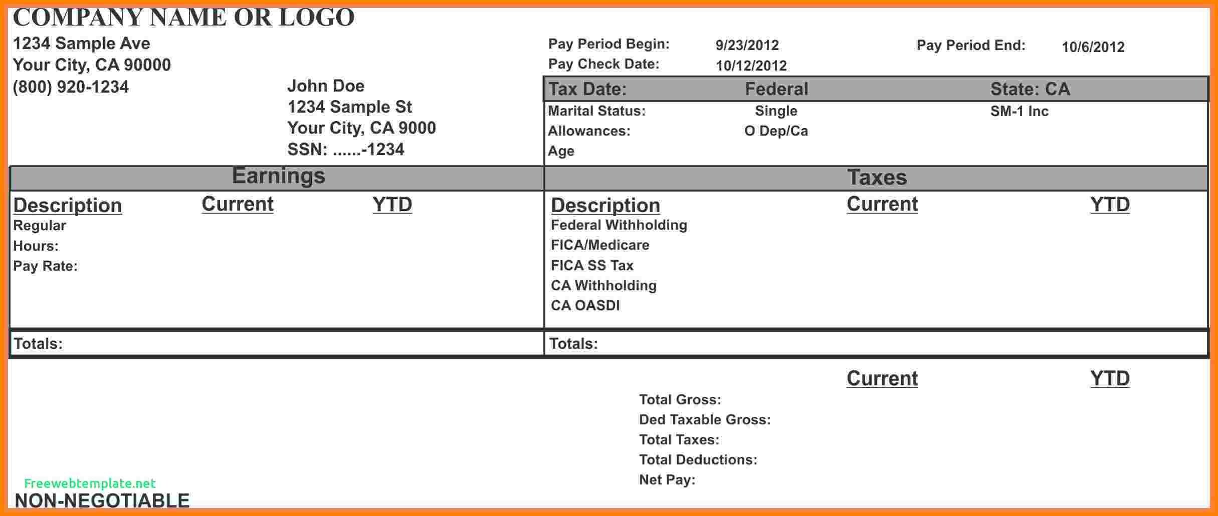 Pay Stub Template Excel 7 Paycheck Stub Template for Excel