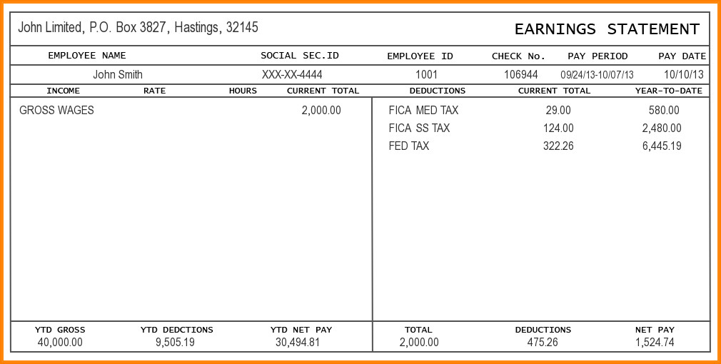 Pay Stub Template Excel 9 Free Editable Pay Stub Template