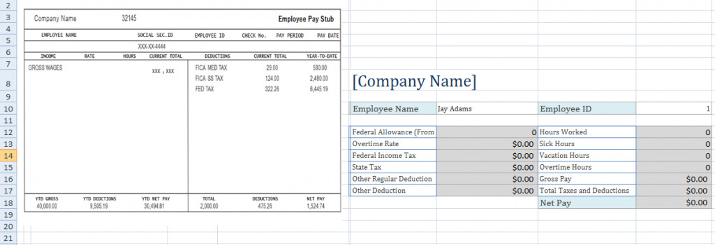 Pay Stub Template Excel Free Employee Pay Stub Excel Template Microsoft Excel