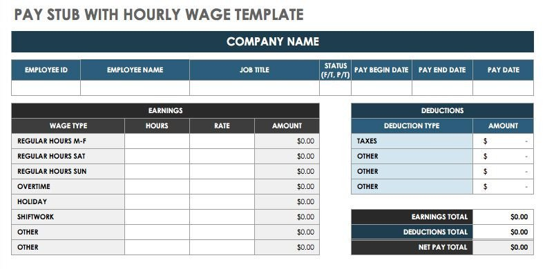 Pay Stub Template Excel Free Pay Stub Templates