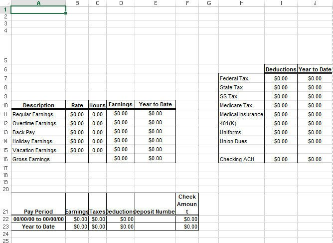 Pay Stub Template Excel Microsoft Excel Paycheck Stub Template