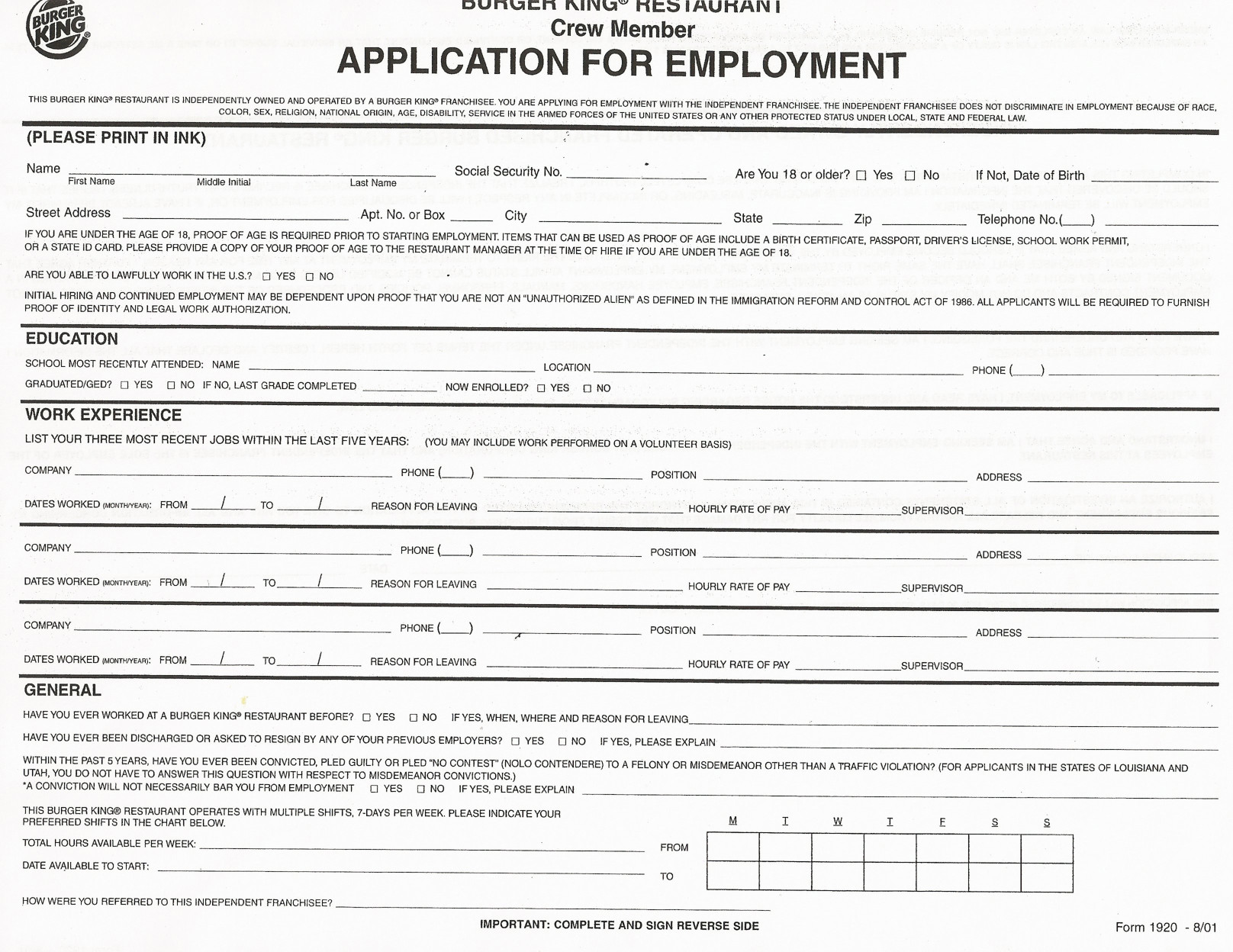 Payless Printable Application Job Application forms to Print