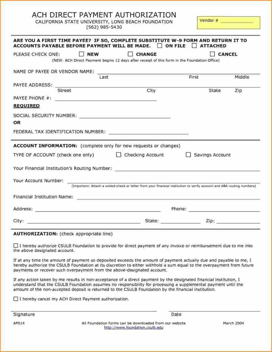 Payment Authorization form Template 14 Ach Payment Authorization form
