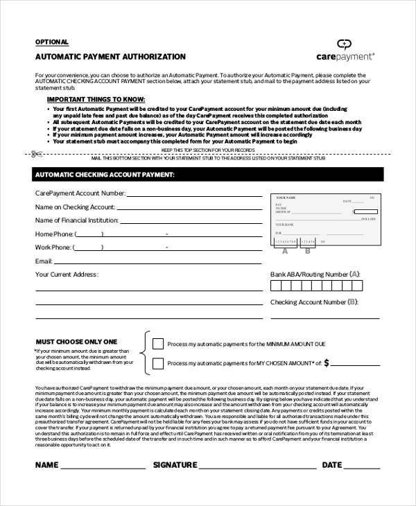 Payment Authorization form Template Authorization form Templates
