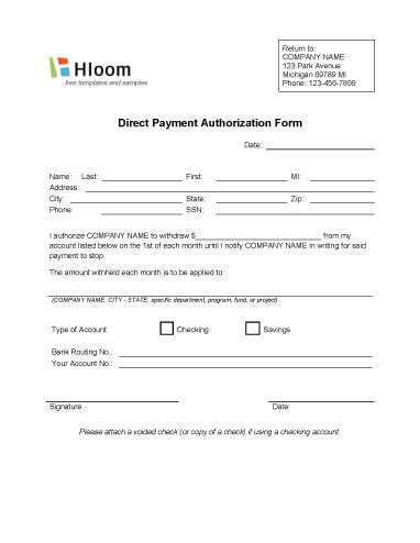 Credit Card Authorization Forms • Hloom