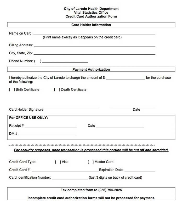 Payment Authorization form Template Credit Card Payment Authorization form Template