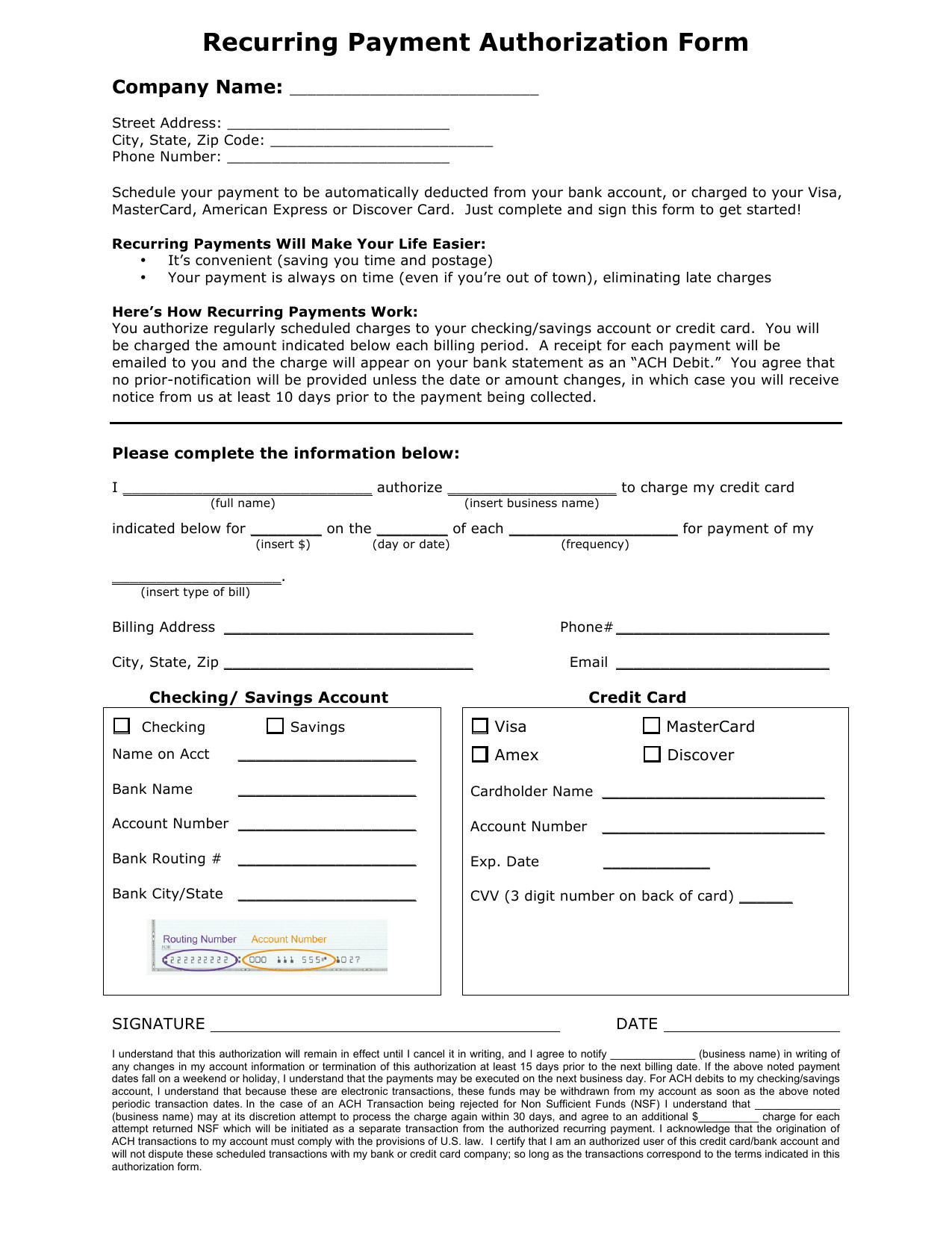 Payment Authorization form Template Download Recurring Payment Authorization form Template