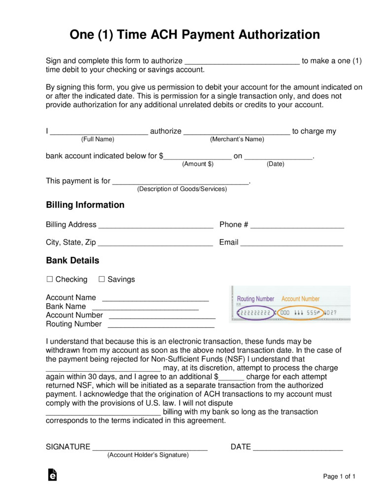 Payment Authorization form Template Free E 1 Time Ach Payment Authorization form Word