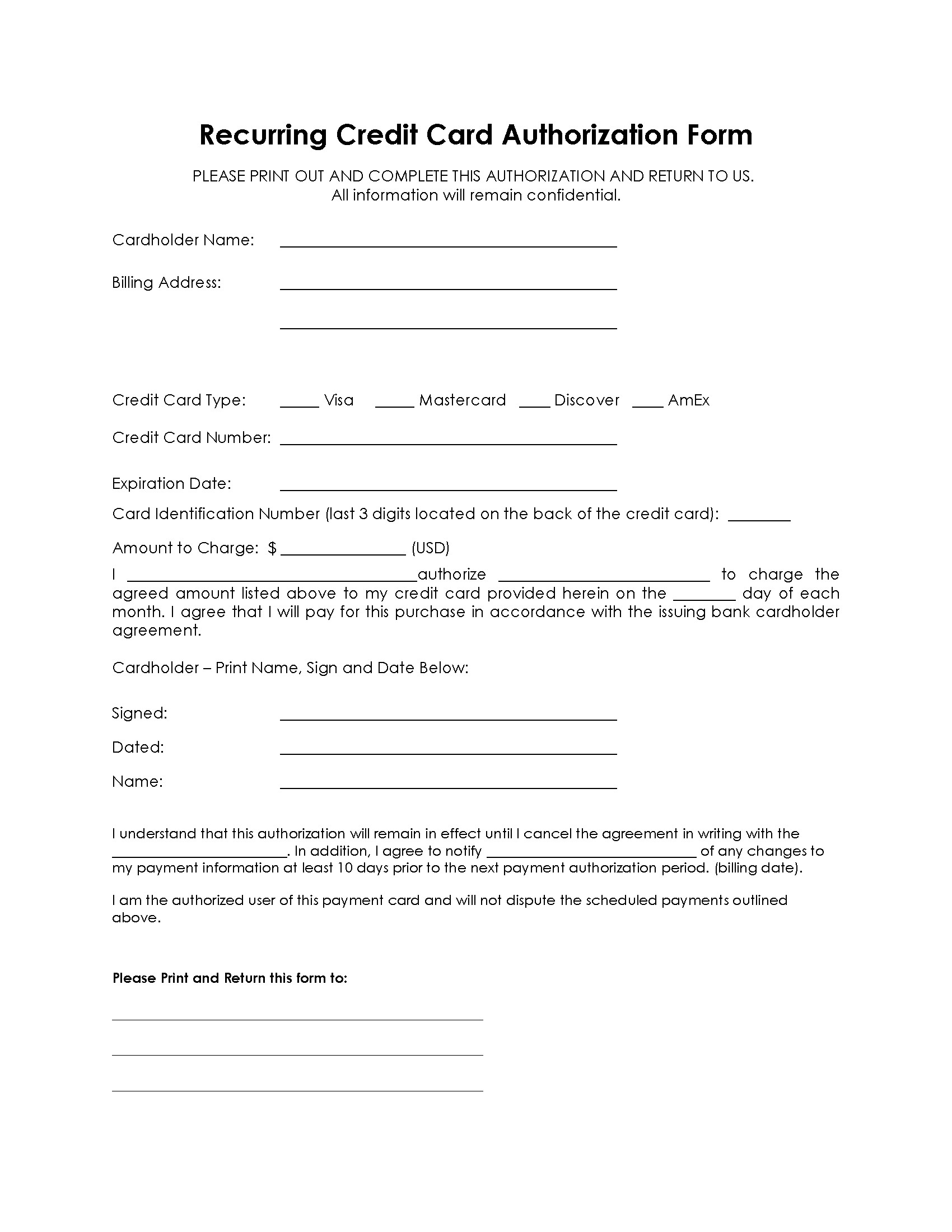 Payment Authorization form Template Recurring Payment Authorization form Free Authorization