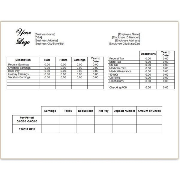 Payroll Check Stub Template Download A Free Pay Stub Template for Microsoft Word or Excel