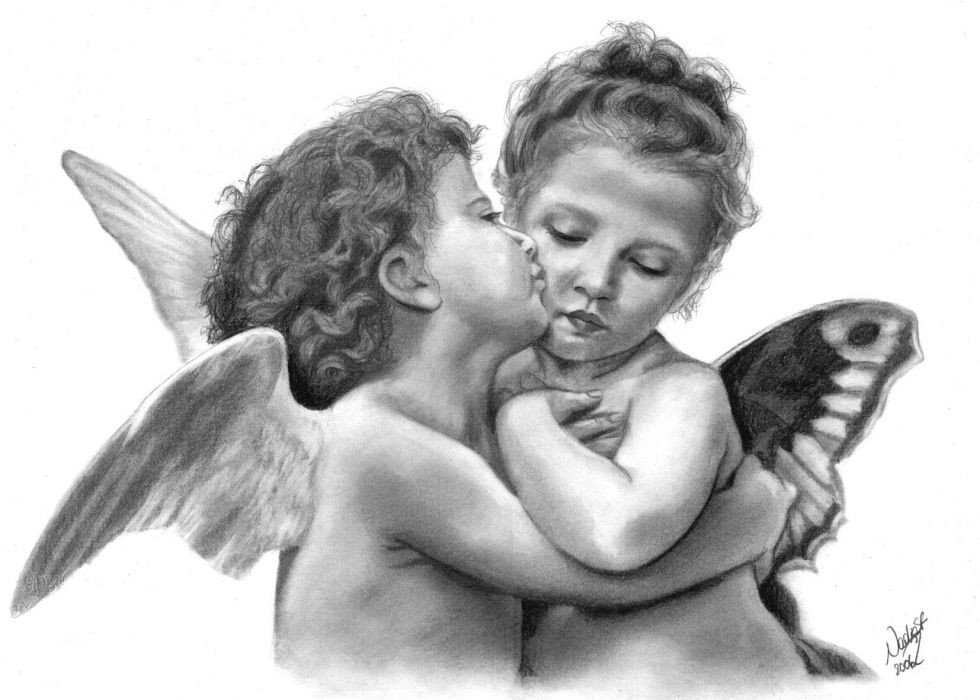 Pencil Drawings Of Love Angels Fantasy Angel Baby Child Children Mood Love