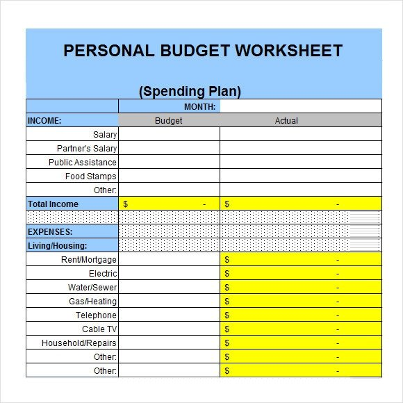 6 Sample Personal Bud Documents In PDF Word Excel