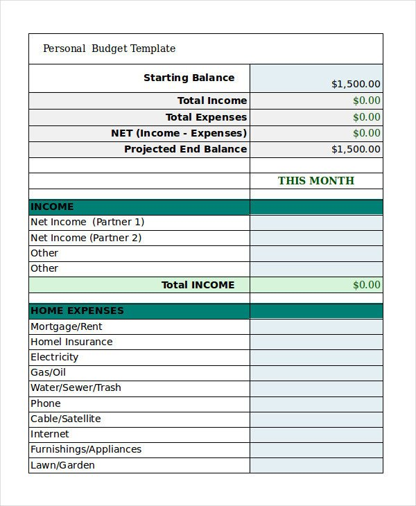 Personal Budget Templates Excel Free Personal Bud Template 9 Free Excel Pdf
