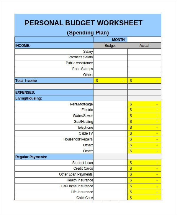 Personal Budget Templates Excel Personal Bud Template