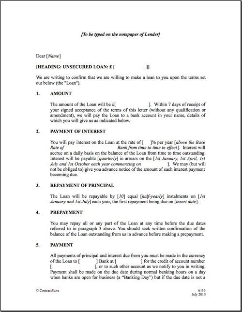 Personal Loan Documents Template Personal Loan Repayment Letter Sample