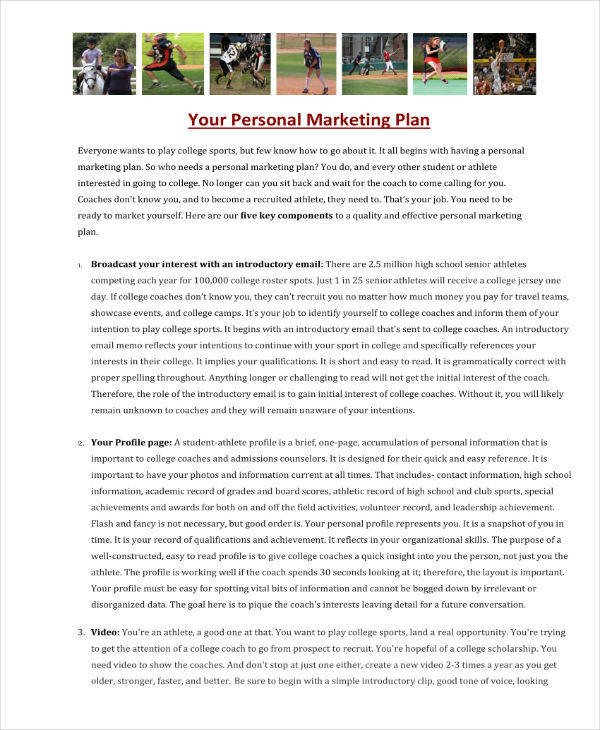 Personal Marketing Plan Example 9 Personal Marketing Plan Templates Pdf Word