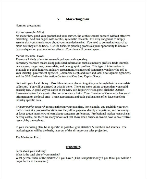Personal Marketing Plan Example Sample Personal Business Plan Template 8 Free Documents