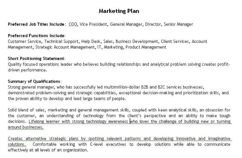 Personal Marketing Plan Example Take Control Of Your Career