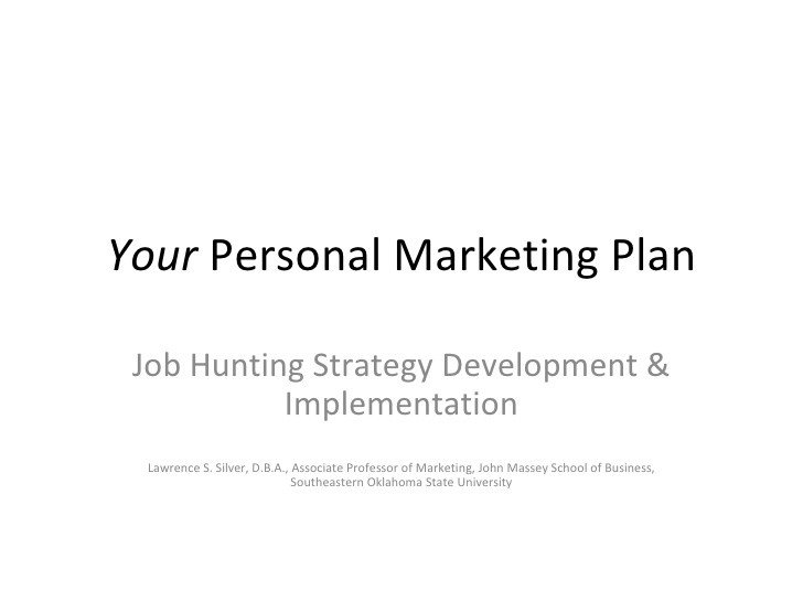 Personal Marketing Plan Example Your Personal Marketing Plan