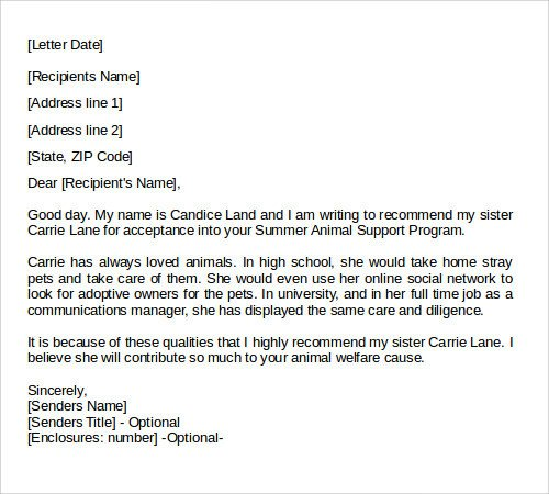Personal Recommendation Letter Template 28 Letter Of Re Mendation In Word Samples