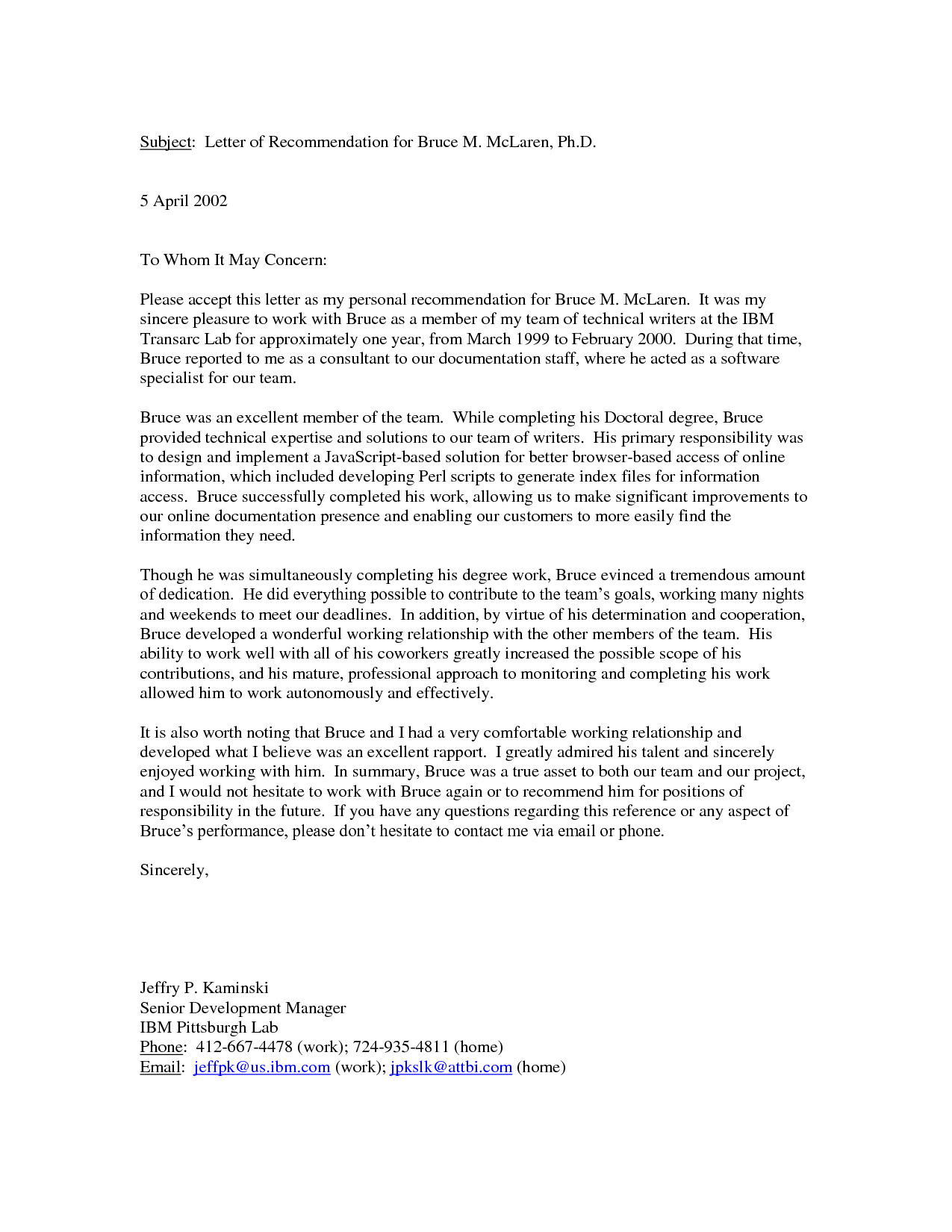 Personal Recommendation Letter Template Personal Letter Re Mendation