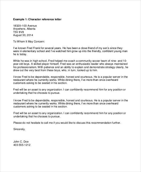 Personal Recommendation Letter Template Sample Personal Reference Letter 7 Documents In Pdf Word