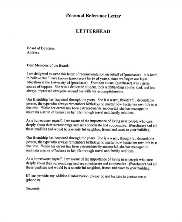 Personal Recommendation Letter Template Sample Personal Reference Letter 7 Examples In Word Pdf