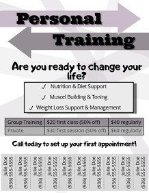 Personal Trainer Flyer Template Customizable Design Templates for Personal Training