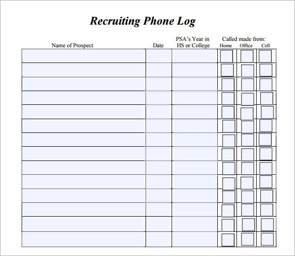 Phone Call Log Template Phone Log Template 8 Free Pdf Doc Download