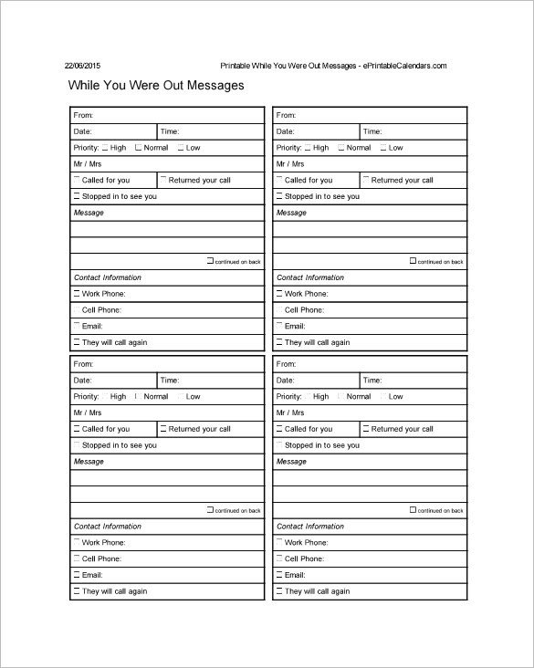 Phone Message Pad Template 21 Phone Message Templates Pdf Doc