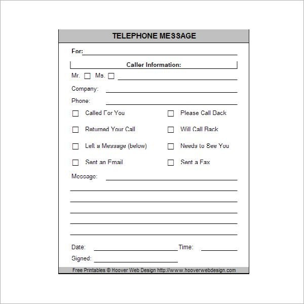Phone Message Pad Template Printable Phone Message Memo Pads