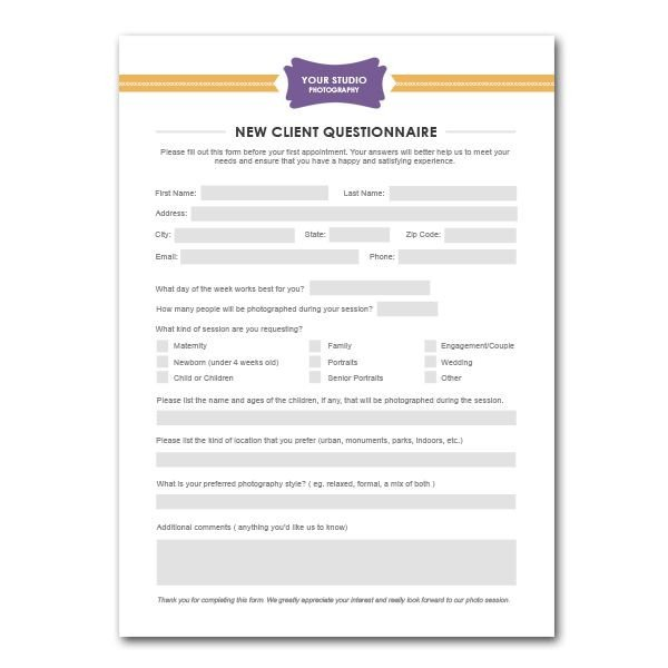 New Client Questionnaire Form Template for graphers