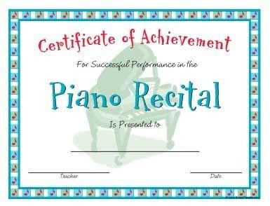 Piano Recital Certificate in a Casual Style