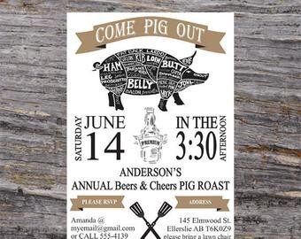 BBQ Invitation Pig Roast Invitation Backyard BBQ Invites