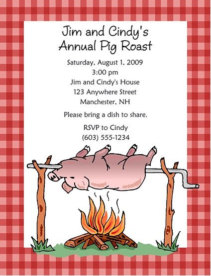 Pig Roast Invitation Template Free Pig Roast Bbq Barbeque Party Invitations