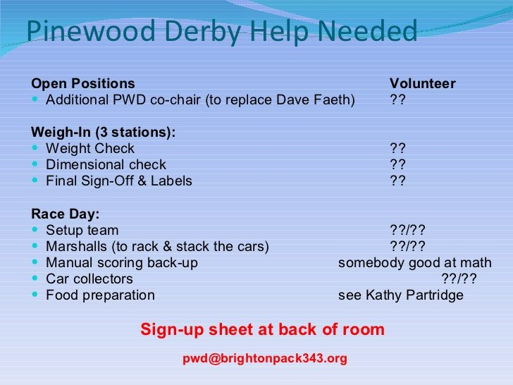 Pinewood Derby Scoring Spreadsheet Pack 343 2012 Pinewood Derby