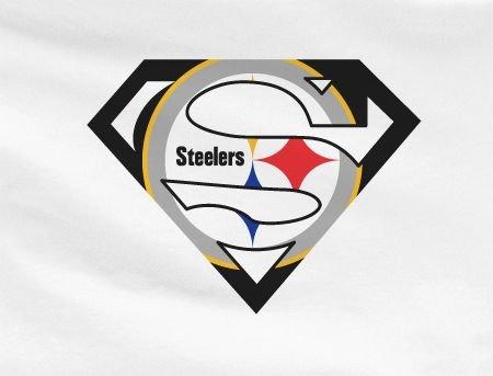 Pittsburgh Steelers Superman Logo White Premium Custom 4 Color Pittsburgh Steelers Superteam