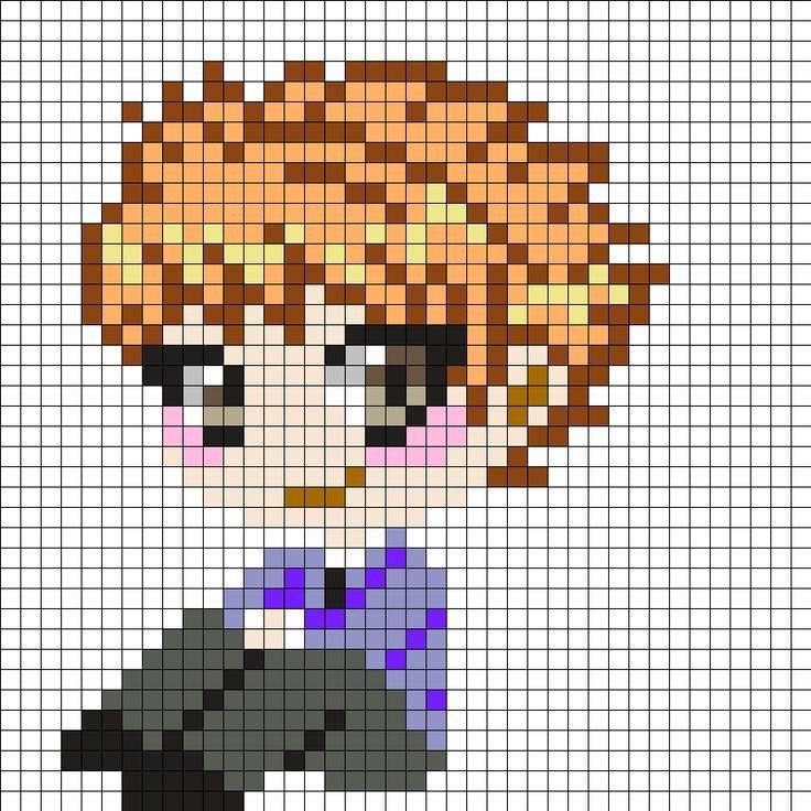 Pixel Art Grid Anime Hikaru and Kaoru Hitachiin Ouran High School Host Club