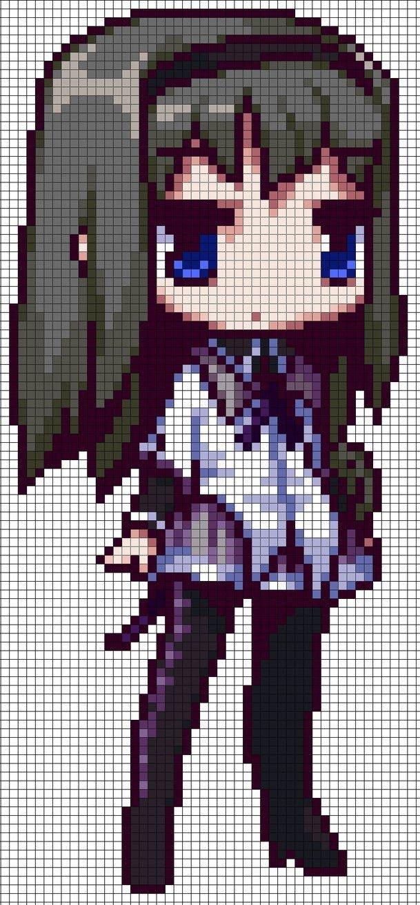 Pixel Art Grid Anime Homura Akemi Puella Magi Madoka Magica Perler Pattern by
