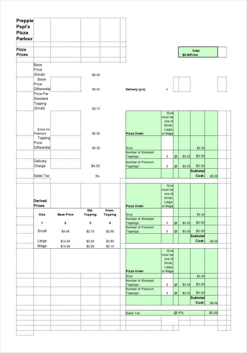 Pizza order form Template 11 Delivery order Templates Docs Apple Pages