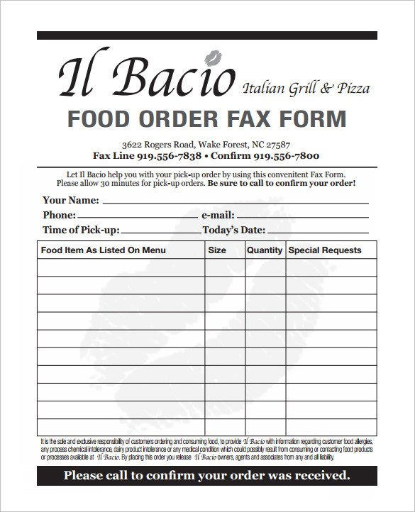 Pizza order form Template 29 order form Templates Pdf Doc Excel