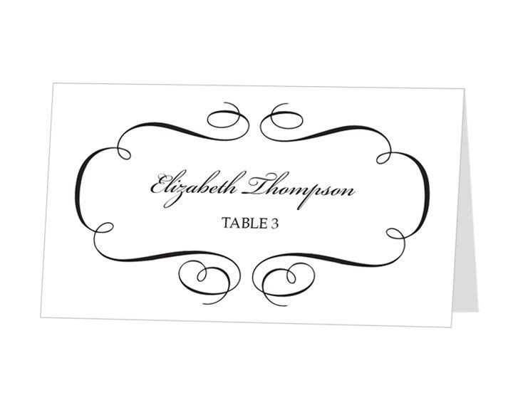 Place Card Template Free Avery Place Card Template Calligraphic Flourish Design